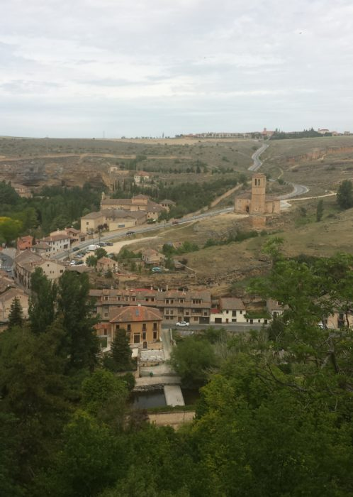 Views from the Wall in Segovia, Spain. Can see church and road.