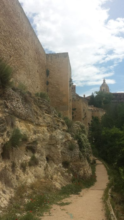 Trail beside the medieval walls in Segovia, Spain