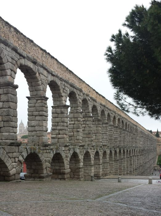 Aqueduct of Segovia in Spain, in area separated from everyone else