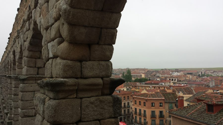 Side view of Roman Aqueducts in Segovia, Spain