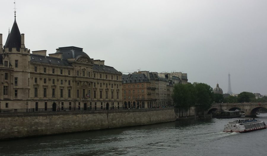 La Seine in Paris, France, with Eiffel Tower in the distance