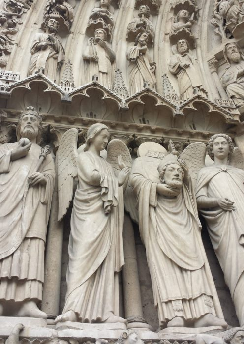 Statues on the Notre Dame in Paris, France