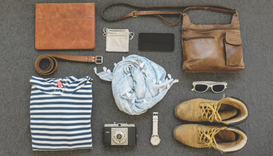 Lay-out of what to pack for a trip