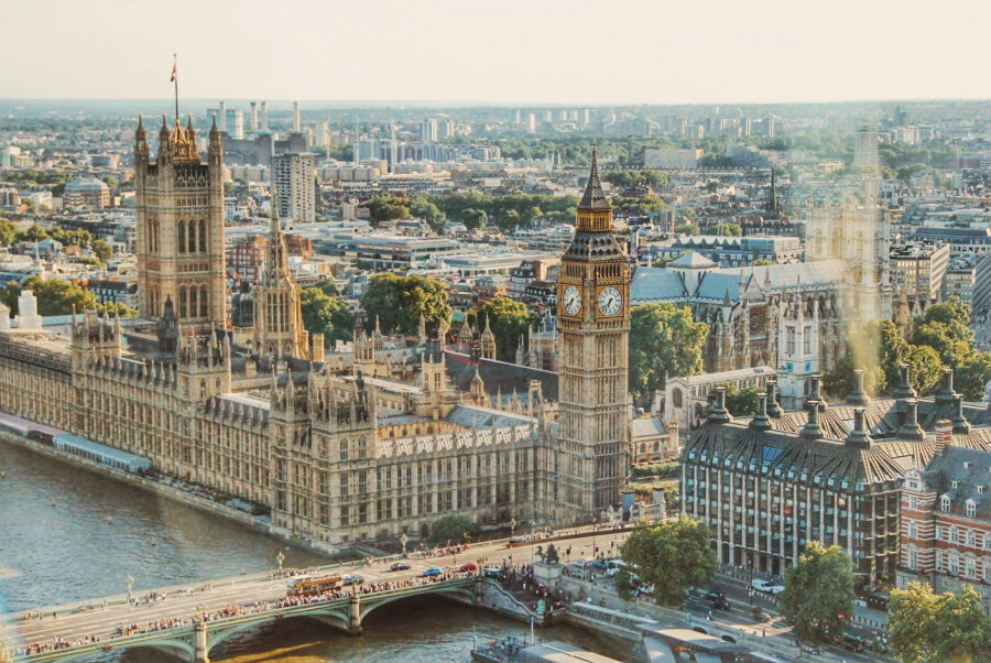 City view of the parliament buildings in London, from the London Eye