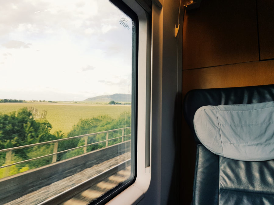 Window-side seat of train, with view of passing scenery