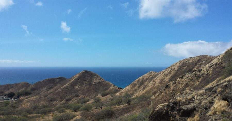 View of some hills and the ocean from the Diamond Head Hike near Honolulu