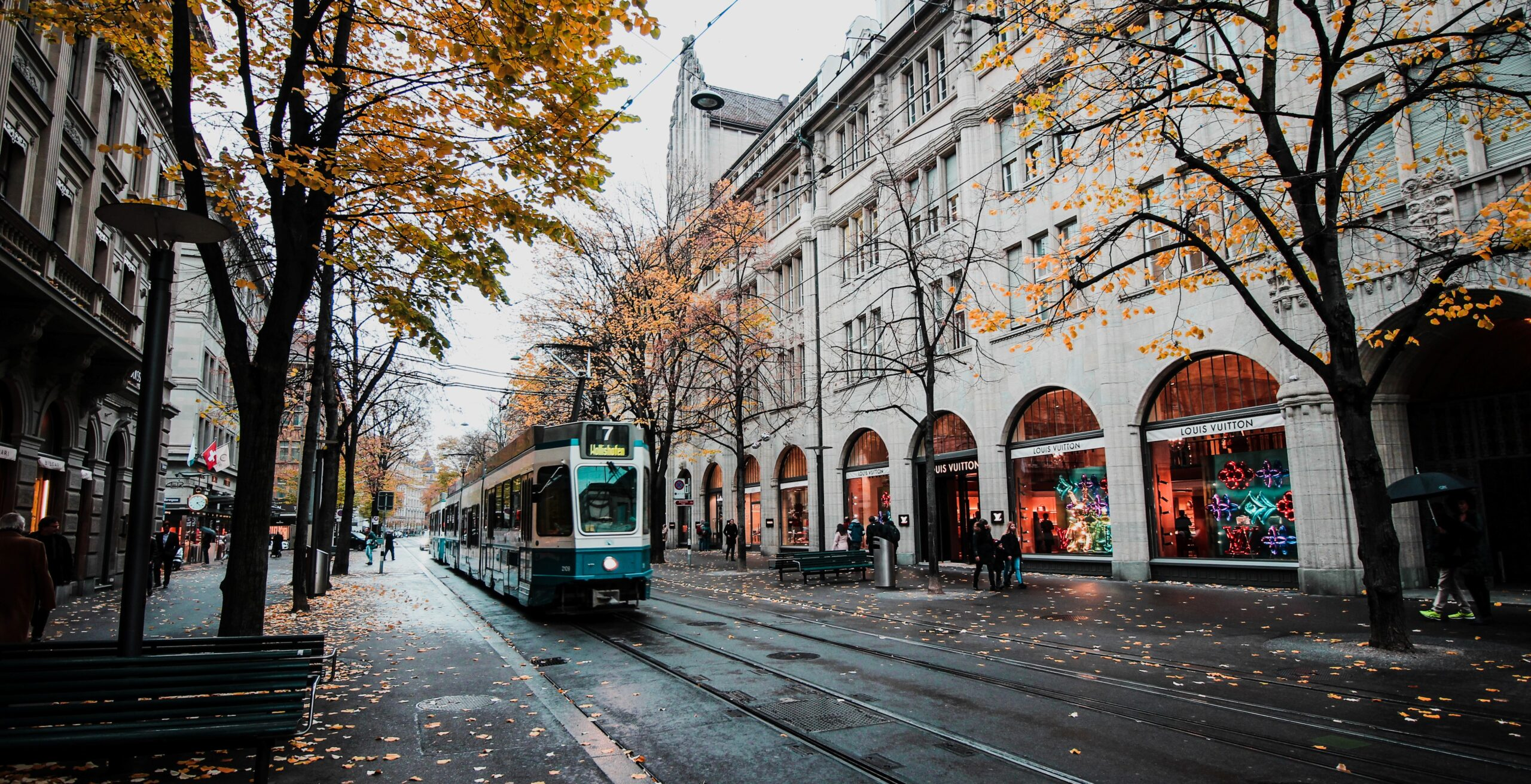Train on street in Europe, surrounded by trees with colorful, autumn leaves