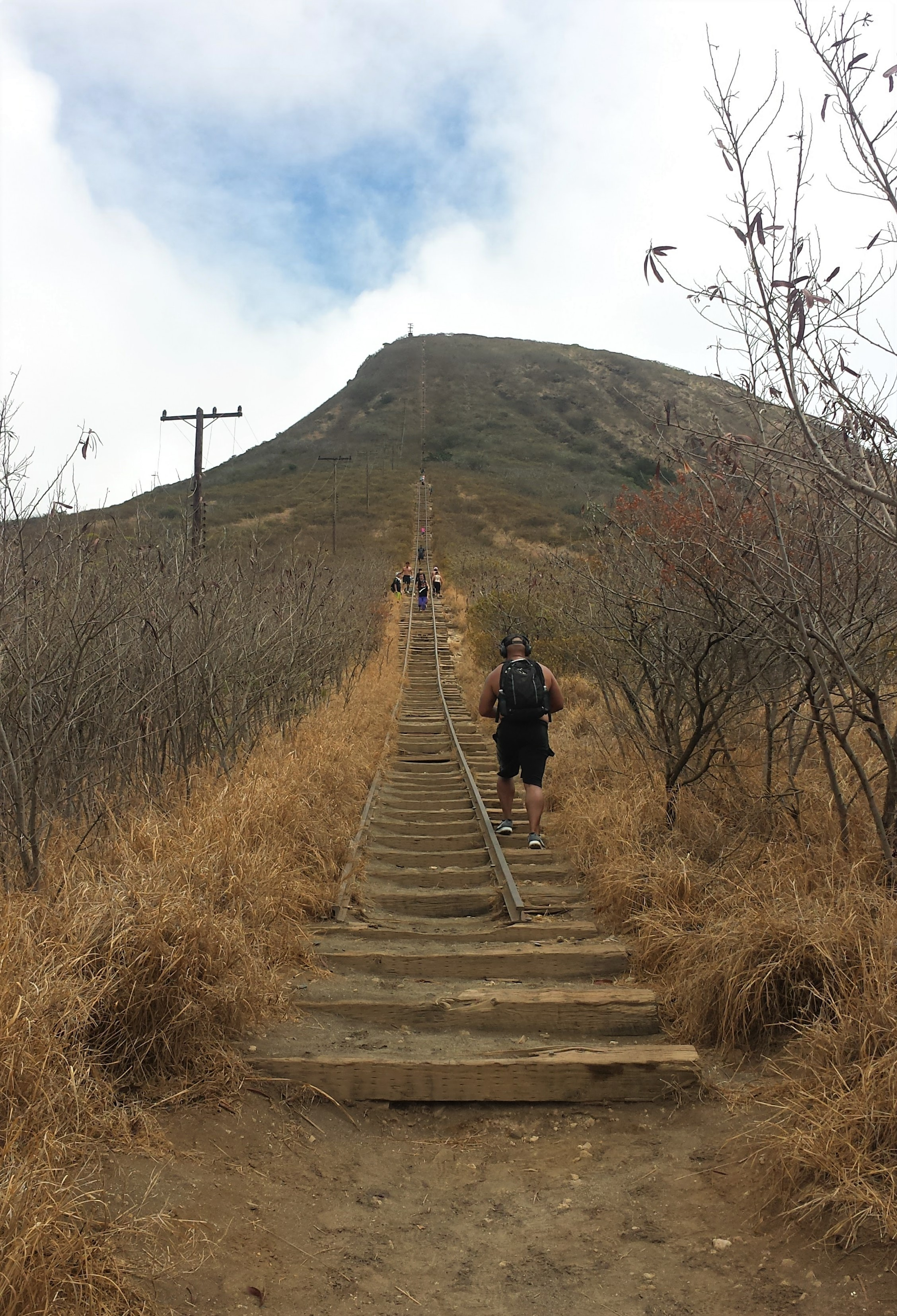 A view up the railtracks from the bottom of the Koko head trail - One of the best hikes in Oahu