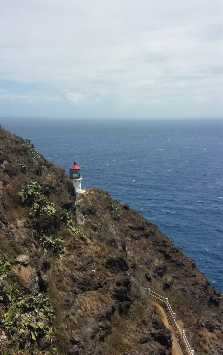 A view of the Makapu'u Lighthouse Hike alongside a cliff, with a view of the ocean