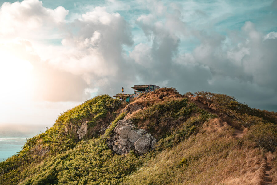 View of the Lanikai Pillbox and the sky - one of the best hikes in Oahu