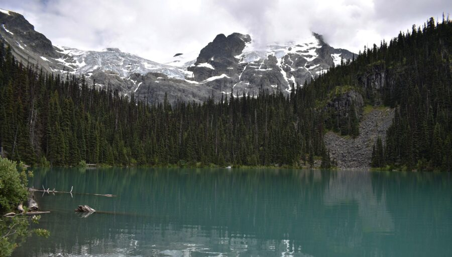 A view of Upper Joffre Lake and a glacier on one of the best Whistler Hikes