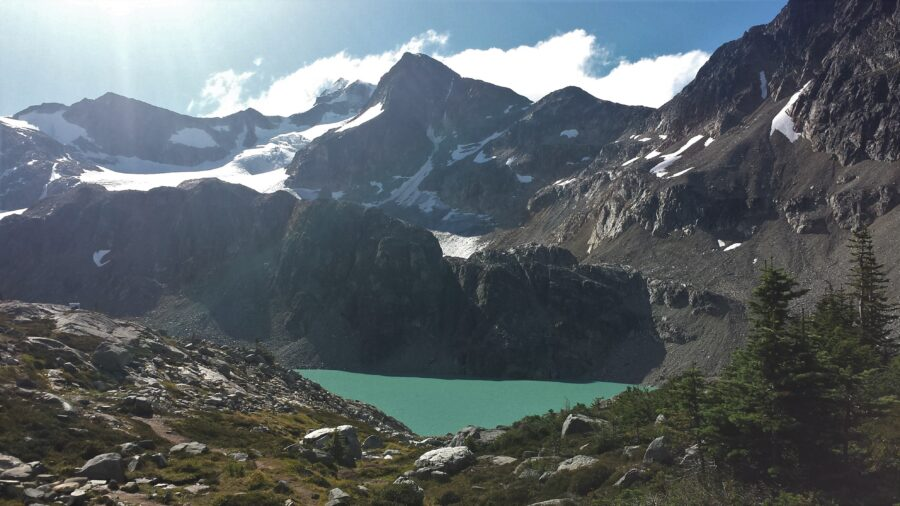 View of the mountains and Wedgemount Lake