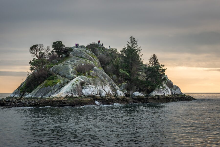 Huge Rock by the Pacific Ocean in Whytecliff Park, Vancouver