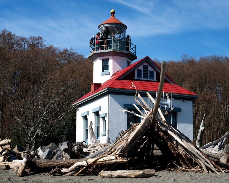 The red and white charming lighthouse in Vashon Island near Seattle