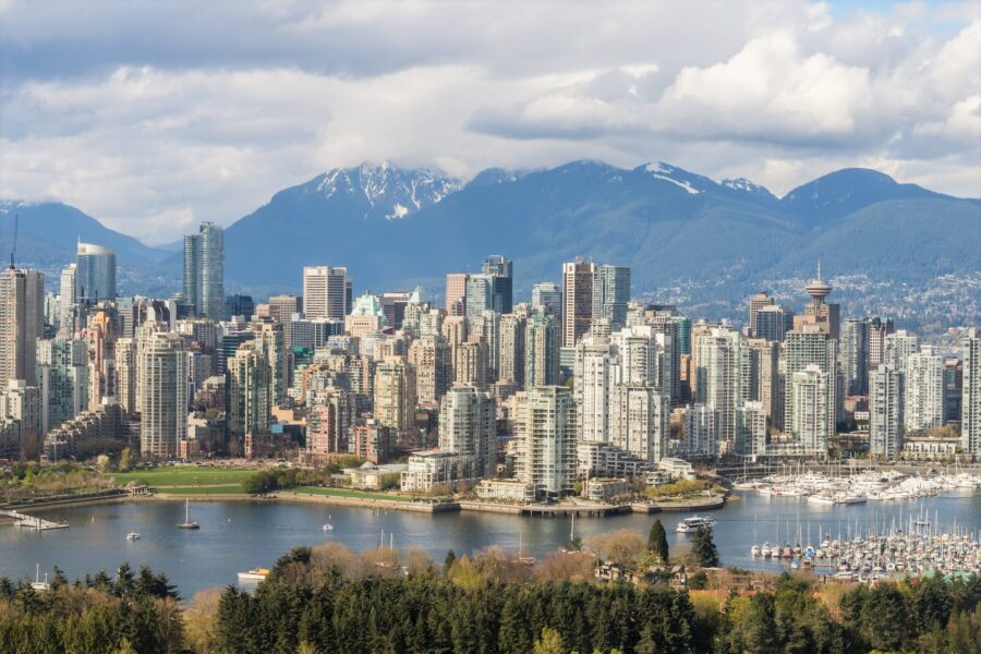 The buildings and mountains of Vancouver, Canada near Seattle, USA