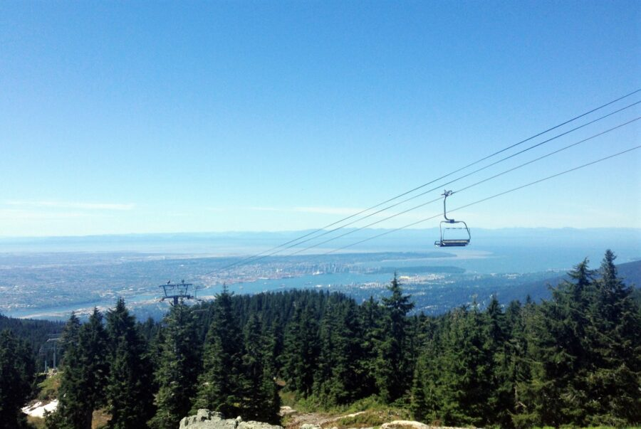 View of Vancouver and Chairlift from Mount Seymour Provincial Park in Vancouver