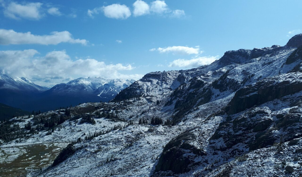 View of snow-capped mountains from one of the best Whistler Hikes