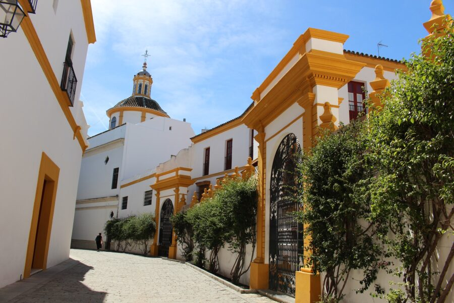 The Colorful Yellow and White Architecture of the Real Maestranza de Caballeria in Seville