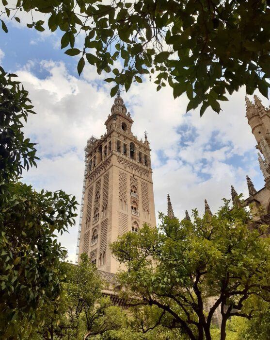 The Towering Giralda Tower in Seville, Connected to the Seville Cathedral