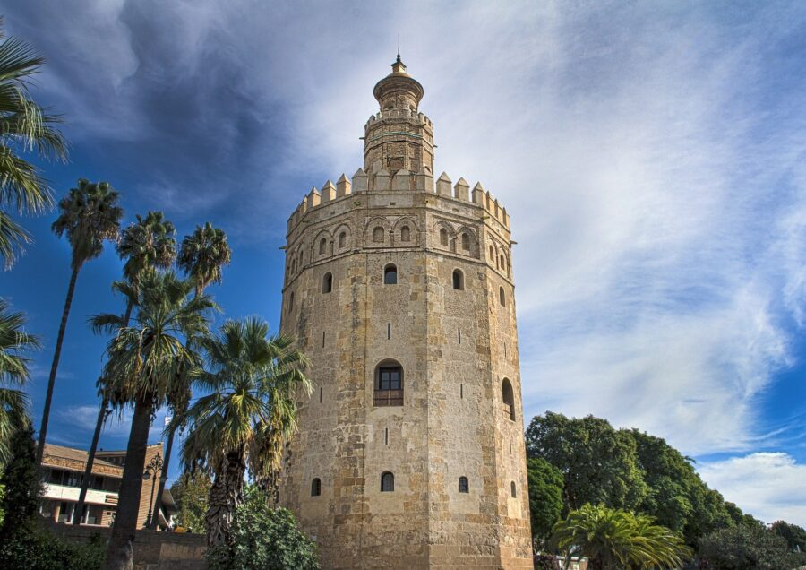 The Towering Torre del Oro Near the Guadalquivir River, Perfect for a Seville Walking Tour