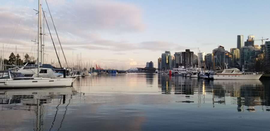 Boats at the docks in Vancouver at sunset - One of the sights as you walk around Vancouver