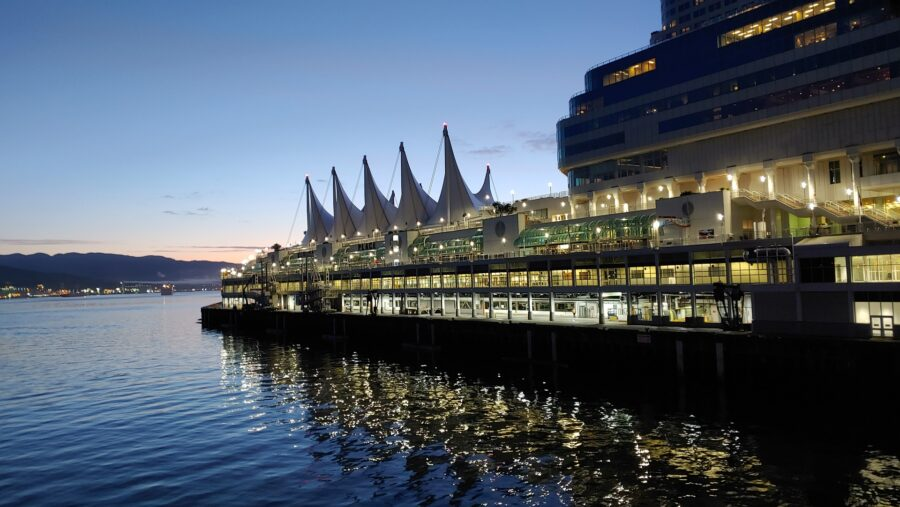 A view of Canada Place at dusk - A popular Waterfront Vancouver destination
