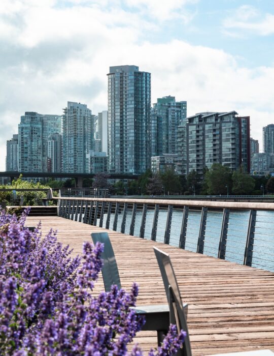 An enchanting boardwalk overlooking some Vancouver buildings, the perfect walk for your Vancouver itinerary
