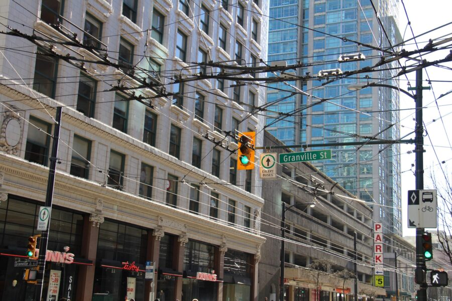 Streets of downtown Vancouver, with wires - what you'll see as you walk Vancouver