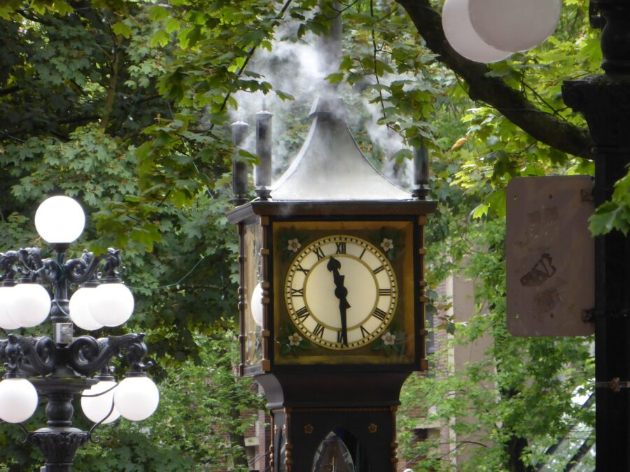 The top of the Gastown Steamclock in downtown Vancouver - a stop on your Vancouver walking tour