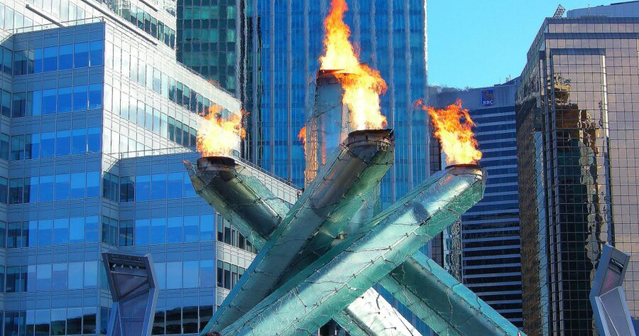 The Olympic Cauldron, i.e. the Olympic torch, lit near Canada Place in Vancouver, Canada