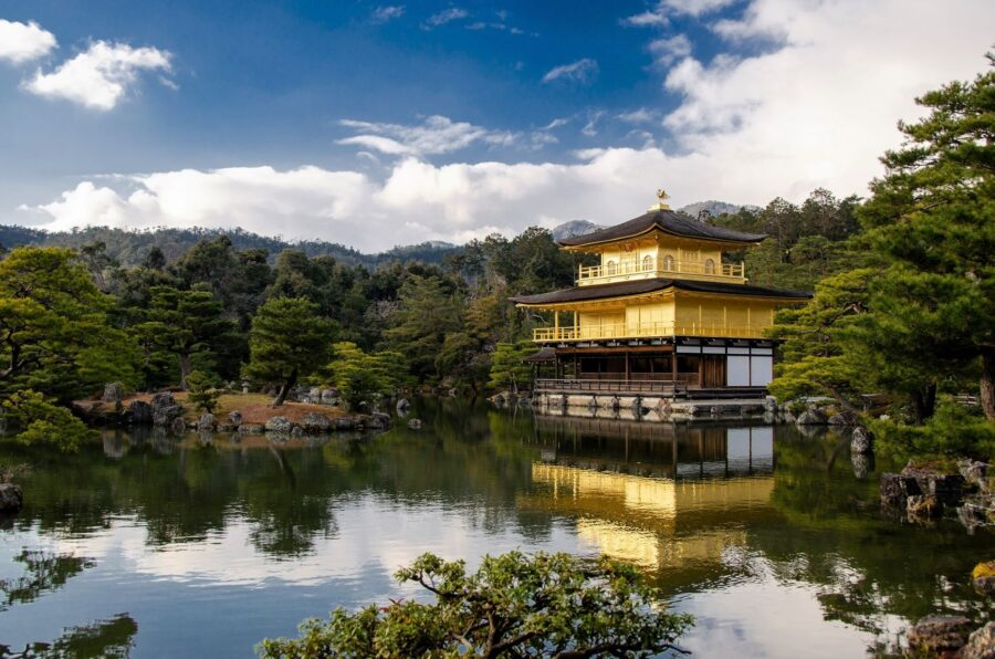 Kinkaku-ji (the Golden Pavilion) and a pond, one of the best temples in Kyoto, Japan