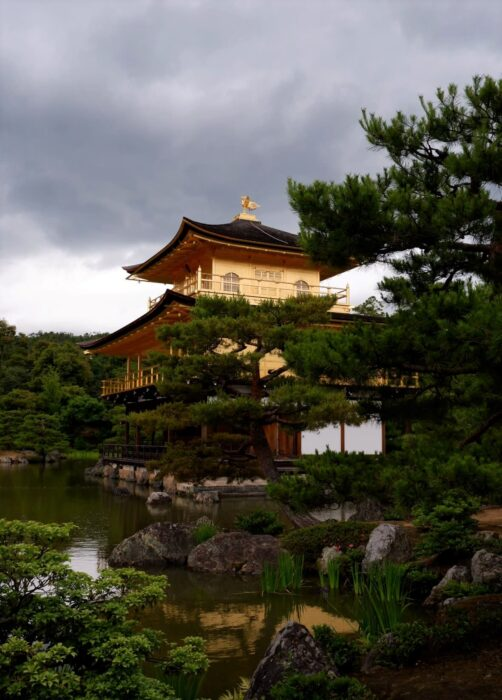 The Kinkaku-ji temple (i.e., the Golden Pavilion), a frequent stop on people's 2 Day Kyoto Itinerary, with the garden and pond