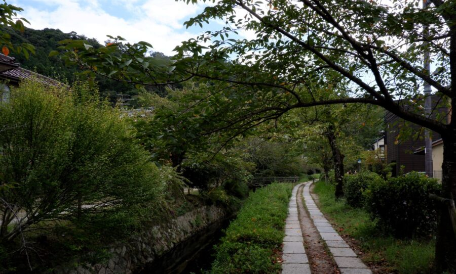 The rock pathway along a canal on the Tetsugaku No Michi Kyoto, or the Philosopher's Path