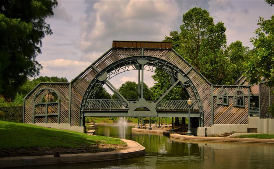 A bridge over a small canal in the Louis Armstrong park in New Orleans
