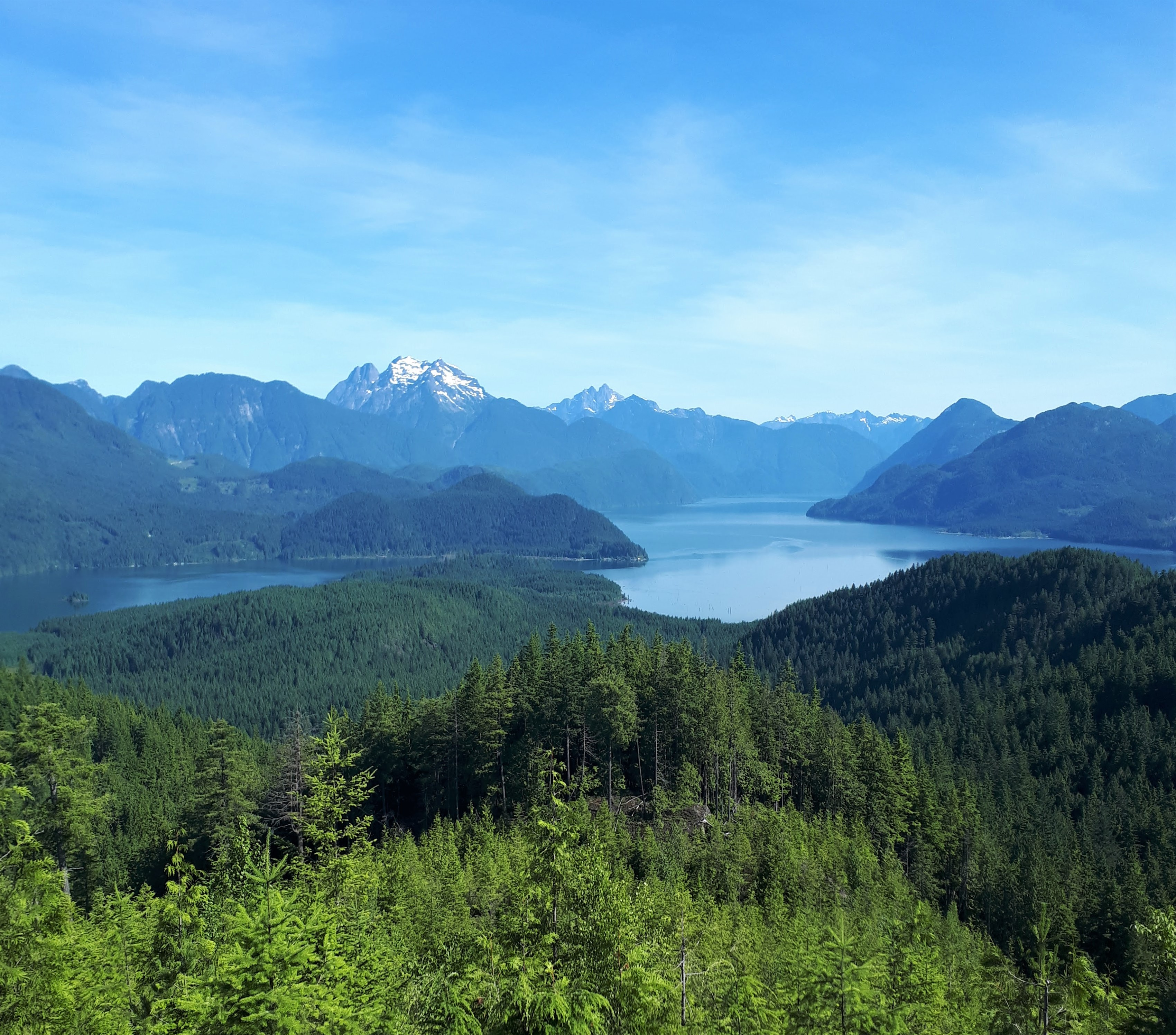 A view of the mountain range, lakes, and forests in Maple Ridge, from one of the best hiking near Vancouver, BC