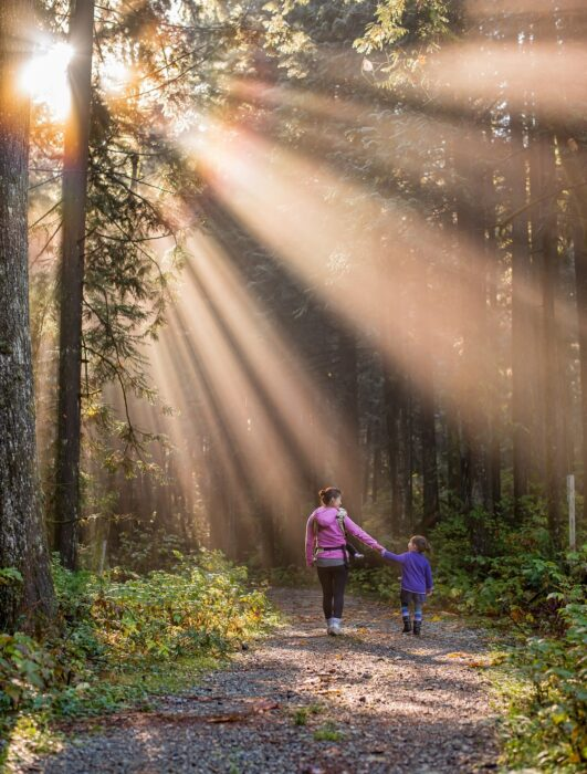 A mother and her two children walking the Trails of Golden Ears Provincial Park, one of the best BC hikes