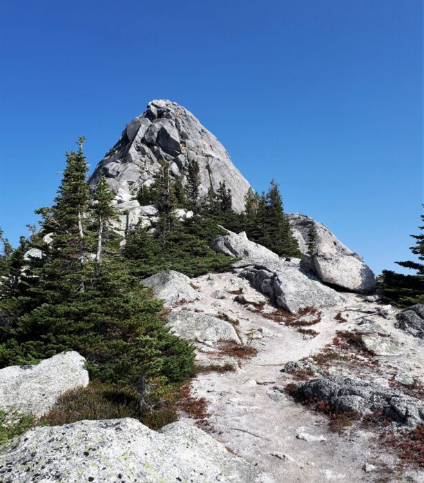 The views of an alpine mountain peak with a small forest, along the path of the Needle Peak trail near Hope, BC, one of the best day hikes from Vancouver
