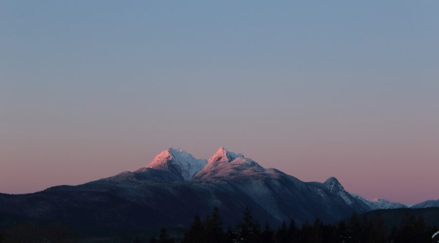 View of the mountains of Golden Ears Provincial Park at dusk, holding some of the coolest hikes near Vancouver