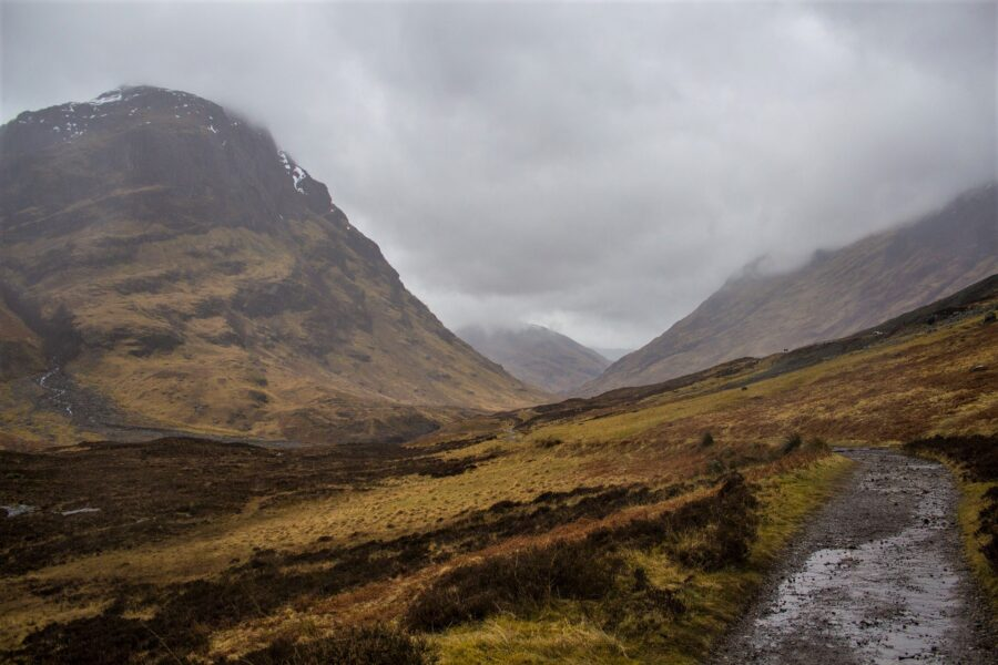 Rainy hiking trail in the highlands of Scotland - one of the best hiking tips and tricks is to not hike in bad weather!