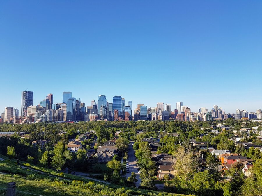 A view of the Calgary skyline and a suburban neighborhood - One of the first sights on your drive from Calgary to Vancouver