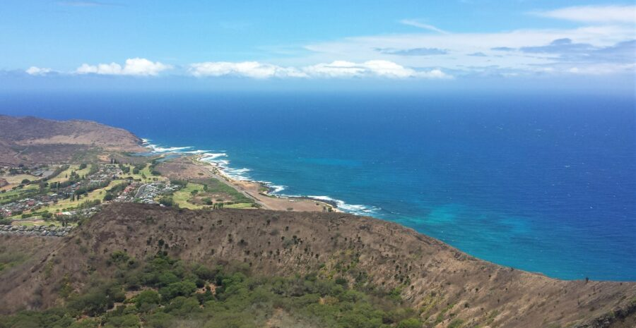 The view of the Pacific Ocean and Oahu from Kokohead, one of the best hikes in Oahu - one of my trips from traveling in college