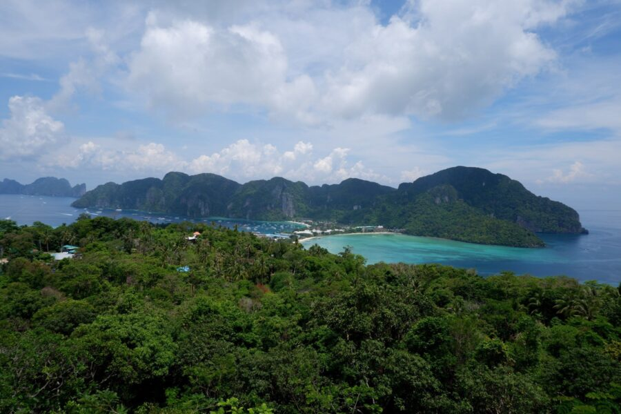 Viewpoint of Koh Phi Phi in Thailand, surrounded by lush jungles and blue ocean - one of the cheapest Asian destinations