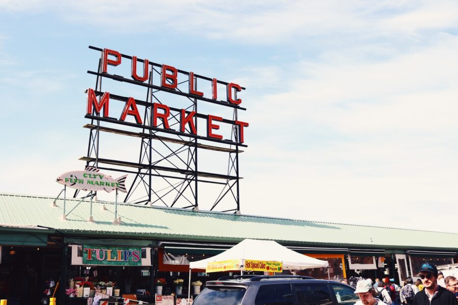 A Public Market sign at Pike Place in Seattle, an essential stop on every walking tour of Seattle