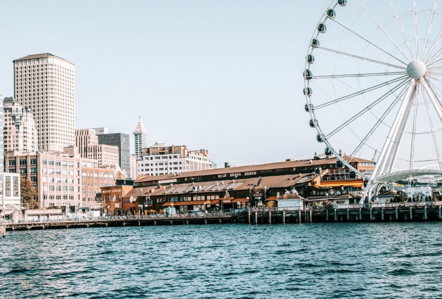 Ocean view of the Seattle Great Wheel, Seattle skyline, and Miner's Landing Pier 57; stops on my walking tour of Seattle