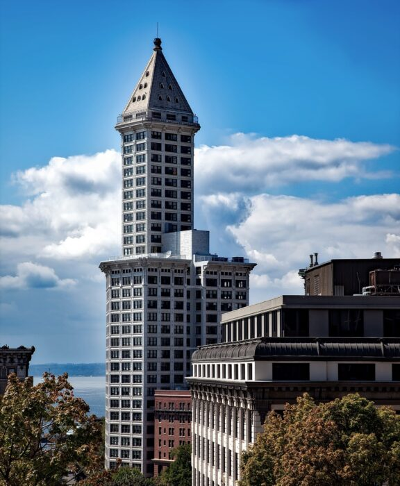 View of the Smith Tower in Pioneer Square in Seattle on a sunny day